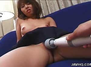 Effusive Japanese crumpet styled Kanako Enoki is masturbated all round vibrator