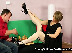 Russian Veritable Cougar Fucks Young Sweetheart