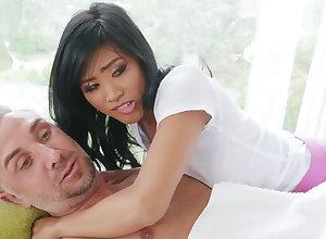 Chinese nubile entices a fond of tramp by way of rubdown